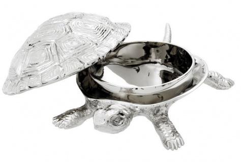 Casa Padrino Luxus Schatulle mit Deckel Schildkröte Messing vernickelt 26, 5 x 15 x H. 8 cm - Luxus Dekoration - Vorschau 2