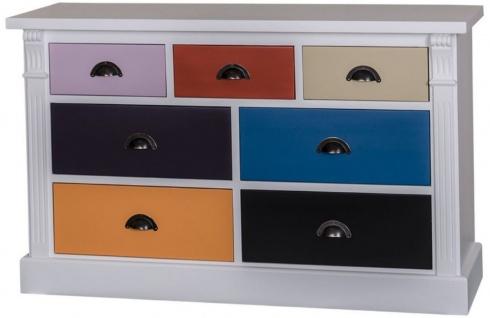 Casa Padrino Landhausstil Kommode mit 7 Schubladen Hellgrau / Mehrfarbig 122 x 41 x H. 75 cm - Massivholz Möbel