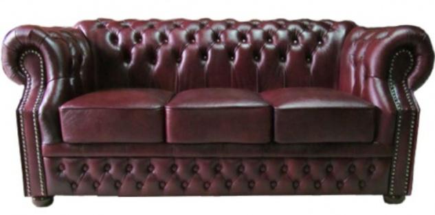 Casa Padrino Luxus Echtleder 3er Sofa Dunkelrot 210 x 90 x H. 80 cm - Chesterfield Sofa - Vorschau