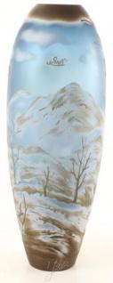 Casa Padrino Glas Vase Winterlandschaft Mehrfarbig Ø 17, 1 x H. 45, 8 cm - Runde Cameoglas Blumenvase - Deko Accessoires
