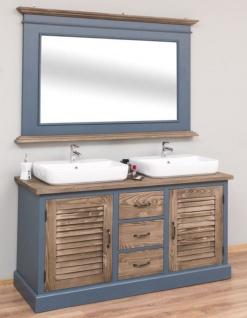 Casa Padrino Landhausstil Badezimmer Set Blau / Braun - 1 Doppelwaschtisch & 1 Wandspiegel - Landhausstil Badezimmer Möbel