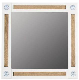 Casa Padrino Landhausstil Wandspiegel Weiß / Naturfarben / Blau 75 x 4 x H. 75 cm - Spiegel im Maritimen Stil und dekorativem Seil