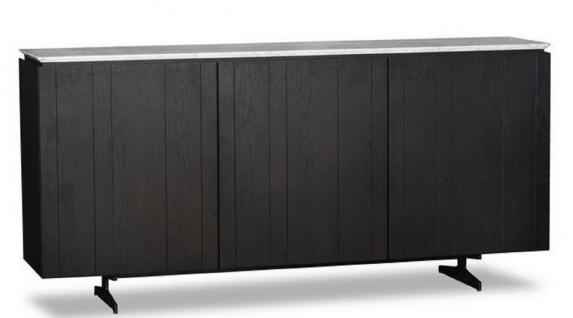 Casa Padrino Luxus Sideboard mit 3 Türen und Marmorplatte Schwarz / Grau 179 x 40 x H. 80 cm - Wohnzimmerschrank - Luxus Qualität