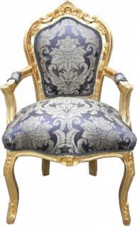 Casa Padrino Barock Esszimmer Stuhl Royalblau Muster / Gold mit Armlehnen - Möbel