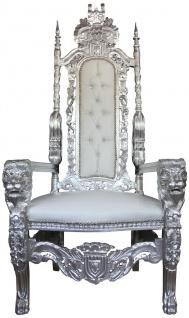 Casa Padrino Barock Thron Sessel Silber / Weiß Lederoptik mit Bling Bling Glitzersteinen - Königssessel- Hochzeitssessel - Riesensessel
