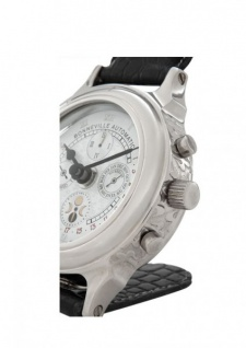 Casa Padrino Designer Luxus Uhr Nickel finish mit schwarzem Leder 10 x H. 16 cm - Hotel Dekoration - Vorschau 2