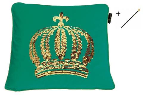 Harald Glööckler Designer Zierkissen 50 x 50 cm Krone mit Pailletten Meergrün / Gold + Casa Padrino Luxus Barock Bleistift mit Kronendesign