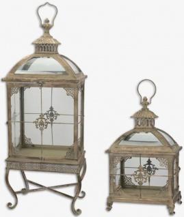 Casa Padrino Jugendstil Tischlaternen Set Antik Messingfarben / Grau 32, 4 x 23, 1 x H. 83, 2 cm - Antik Stil Kerzenleuchter - Barock & Jugendstil Deko Accessoires