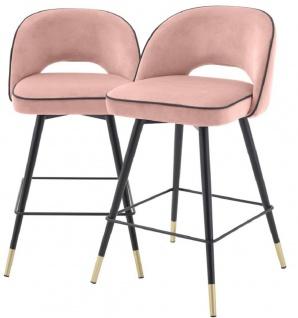 Casa Padrino Luxus Barstuhl Set Rosa / Schwarz / Messingfarben 51 x 52 x H. 103 cm - Barstühle mit drehbarer Sitzfläche und edlem Samtsoff - Luxus Bar Möbel