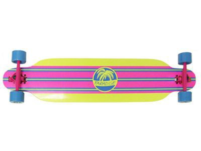 Paradise Yellow Stripe Drop Thru complete PREBUILT Komplett Longboard