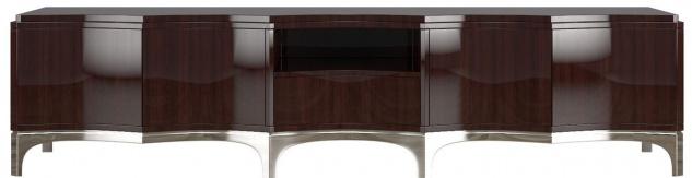 Casa Padrino Luxus TV Schrank Dunkelbraun / Silber 250 x 45 x H. 58 cm - Edler Fernsehschrank mit 4 Türen und Schublade - Luxus Wohnzimmer Möbel