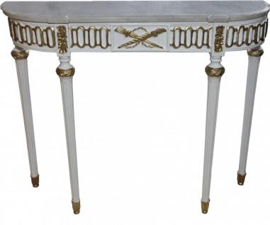 Casa Padrino Barock Konsolentisch mit Marmorplatte, Weiss/Gold 112 cm - Barock Konsole - Limited Edition Konsole