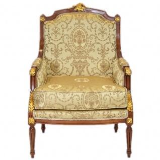 Casa Padrino Barock Lounge Thron Sessel Empire Gold Muster / Mahagoni Braun / Gold - Ohren Sessel - Ohrensessel Tron Stuhl - Vorschau 2