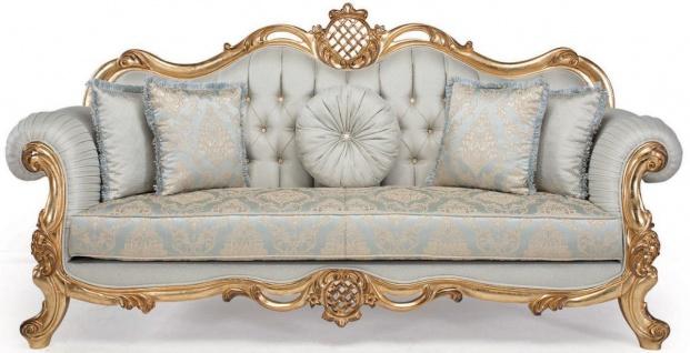 Casa Padrino Luxus Barock Wohnzimmer Sofa mit dekorativen Kissen Hellblau / Türkis / Gold 222 x 82 x H. 120 cm - Barock Wohnzimmermöbel