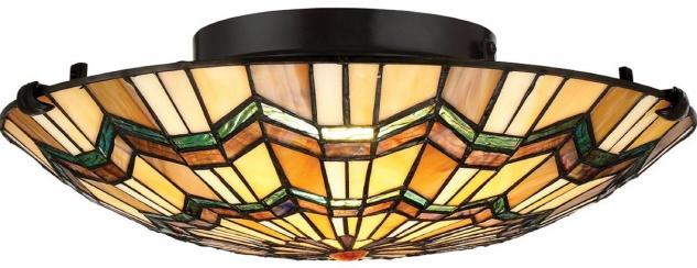 Casa Padrino Luxus Tiffany Deckenleuchte Mehrfarbig Ø 42, 1 x H. 13, 5 cm - Runde Tiffany Lampe mit handgefertigtem Glas Lampenschirm