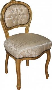 Casa Padrino Barock Damen Stuhl Creme Muster / Gold mit Bling Bling Glitzersteinen - Schminktisch Stuhl - Vorschau 2