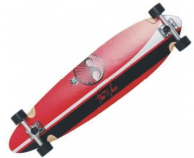 Wave Longboard Pintail Komplettboard Linear Red 39.5 mit Koston Kugellagern