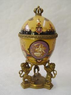 Casa Padrino Barock Porzellan Ei mit Messing Löwen - Königlich - Prunkvolle Wohn Dekoration