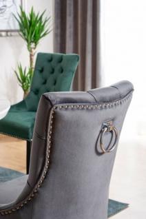 Casa Padrino Luxus Chesterfield Esszimmer Stuhl Grau / Silber / Schwarz - Küchenstuhl mit Samtstoff - Esszimmer Möbel - Vorschau 3