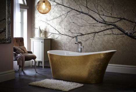 Casa Padrino Art Deco Badewanne freistehend Gold Modell He-Hol 1710mm - Freistehende Retro Antik Jugendstil Badewanne