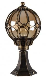 Casa Padrino Jugendstil Gartenlaterne Antik Bronze / Bernsteinfarben Ø 21, 5 x H. 42, 3 cm - Wetterfeste Garten Terrassen Außenleuchte Stehleuchte