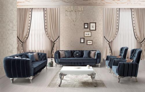 Casa Padrino Luxus Barock Wohnzimmer Set Blau / Silber - 2 Sofas & 2 Sessel & 1 Couchtisch - Elegante Wohnzimmer Möbel im Barockstil