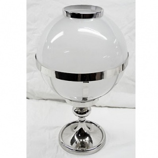 Casa Padrino Laterne Messing vernickelt / Glas Vintage Kugel Design H35 cm- Kerzenleuchter