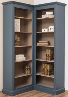 Casa Padrino Landhausstil Eckschrank Blau / Beige 102 x 102 x H. 210 cm - Massivholz Bücherschrank - Landhausstil Wohnzimmer Möbel