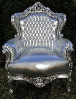 "Casa Padrino Barock Sessel "" King"" Silber/Silber Lederoptik"