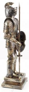 Casa Padrino Mittelalter Deko Ritterrüstung Antik Silber 18, 8 x 12, 1 x H. 46, 9 cm - Kleine Zinnfigur auf Sockel - Vorschau 3