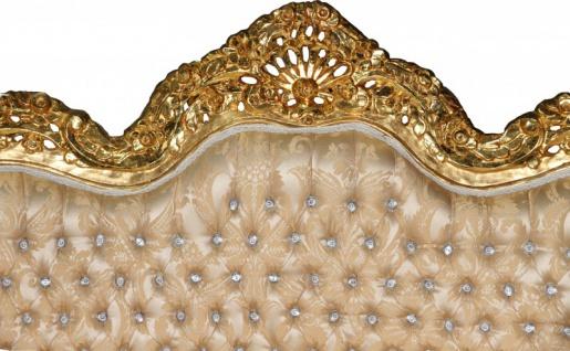 Casa Padrino Barock 2-er Sofa Master Creme Barock Muster/ Gold mit Bling Bling Glitzersteinen Mod3 - Wohnzimmer Couch Möbel Lounge - Vorschau 2