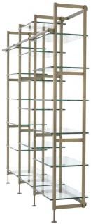 Casa Padrino Luxus Regalschrank Messingfarben 222, 5 x 51 x H. 238 cm - Edelstahl Schrankwand mit 18 verstellbaren Glasregalen - Wohnzimmerschrank - Büroschrank - Luxus Möbel - Vorschau 3