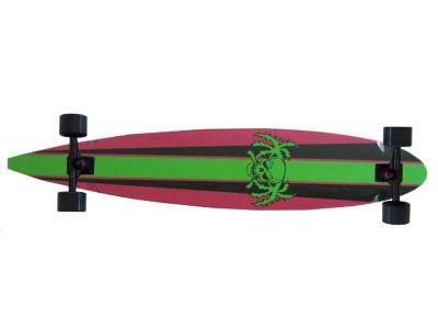 Paradise Longboard Skateboard Stripes & Skull Green Pintail 47, 75x9 inch