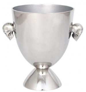 Casa Padrino Aluminium Eiseimer Skull Silber Ø 15 x H. 20 cm - Weinkühler - Champagnerkühler mit 2 Griffen - Gastronomie Accessoires