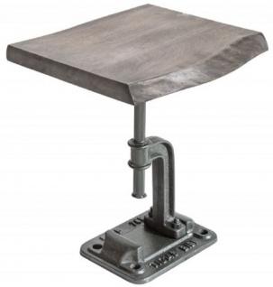 Casa Padrino Industrial Design Beistelltisch Grau 43 x 35 x H. 46 cm - Industrie Stil Metall Tisch mit Massivholz Tischplatte - Industrial Design Möbel