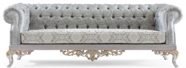 Casa Padrino Luxus Barock Sofa Türkis / Silber / Gold 225 x 86 x H. 92 cm - Edles Wohnzimmer Sofa im Barockstil