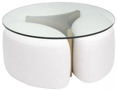 Casa Padrino Luxus Couchtisch Weiß / Antik Messingfarben Ø 104 x H. 46, 5 cm - Runder Edelstahl Wohnzimmertisch mit Glasplatte und 3 eleganten Sitzhocker - Wohnzimmer Möbel - Luxus Möbel