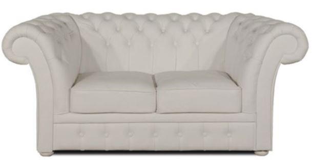 Casa Padrino Luxus Echtleder 2er Sofa Weiß 170 x 90 x H. 80 cm - Chesterfield Möbel
