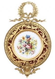 Casa Padrino Barock Keramik Wandbild mit Blumen Design und verziertem Rahmen Mehrfarbig / Bordeauxrot / Gold 28 cm - Barock Deko Accessoires