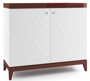 Casa Padrino Luxus Kommode mit 2 Türen Weiß / Hochglanz Braun 111, 2 x 45 x H. 96, 6 cm - Luxus Wohnzimmerschrank - Vorschau