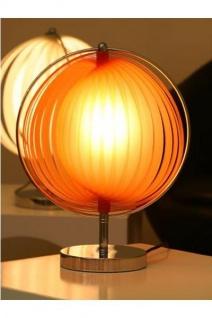 Designer Tischleuchte mit flexiblen und verstellbaren Kunststoff-Streifen, Orange/Silber, Leuchte Lampe