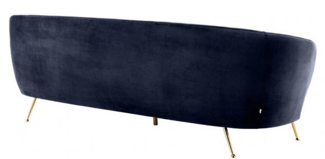 Casa Padrino Luxus Wohnzimmer Samtsofa Mitternachtsblau / Messingfarben 220 x 85 x H. 77 cm - Luxus Möbel - Vorschau 5