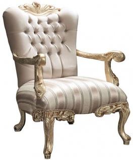 Casa Padrino Luxus Barock Sessel mit Glitzersteinen Beige / Gold 80 x 85 x H. 117 cm - Wohnzimmer Möbel im Barockstil - Edel & Prunkvoll