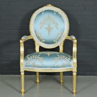 "Casa Padrino Barock Salon Stuhl "" Medaillon"" Mod2 mit Armlehnen Helltürkis / Gold - Antikstil Stuhl"