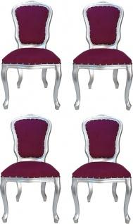Casa Padrino Luxus Barock Esszimmer Set Louis Lila / Silber 50 x 60 x H. 104 cm - 4 handgefertigte Esszimmerstühle - Barock Esszimmermöbel - Made in Italy
