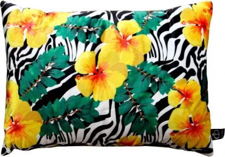Casa Padrino Luxus Deko Kissen Florida Flowers Mehrfarbig 35 x 55 cm - Feinster Samtstoff - Dekoratives Wohnzimmer Kissen