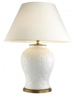 Casa Padrino Luxus Keramik Tischlampe Weiß / Antik Messing - Wohnzimmermöbel