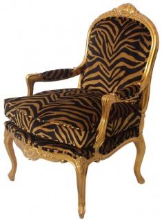 Casa Padrino Luxus Barock Sessel Gold / Schwarz / Gold 69 x 77 x H. 108 cm - Edler Mahagoni Wohnzimmer Sessel mit elegantem Tiger Muster - Barock Möbel
