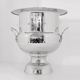 Massiver Luxus Wein Kühler Solid Design Luxury vernickelt 35 x 35 x H 37cm aus dem Hause Casa Padrino - Luxus Blumenvase