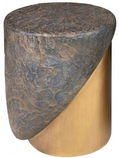 Casa Padrino Designer Hocker Antik Kupfer / Messing Ø 41 x H. 48, 5 cm - Runder Sitzhocker aus Glasfaserverstärktem Beton - Luxus Möbel